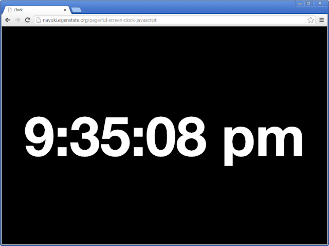 Full screen clock (JavaScript)