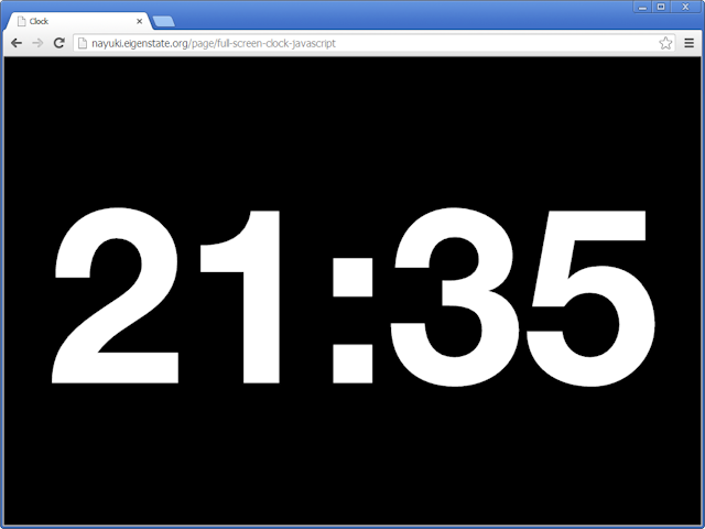 Full screen clock JavaScript