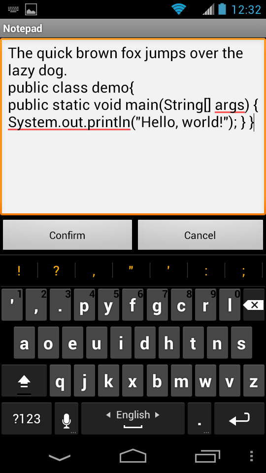 Portrait Dvorak keyboard on Android